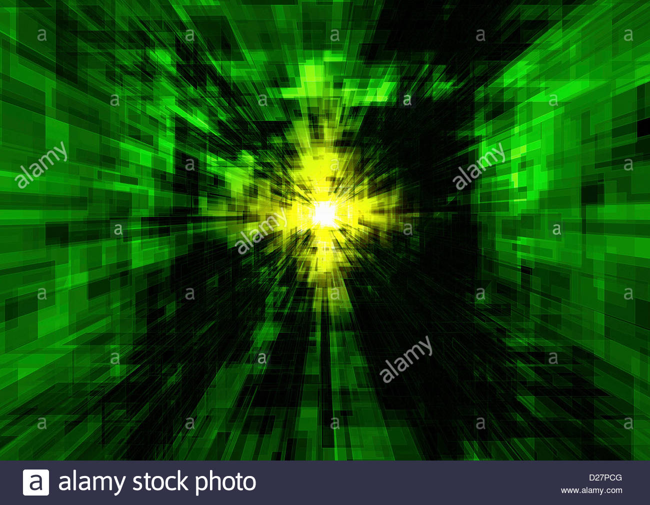 Vanishing point at center of abstract green geometric pattern - Stock Image
