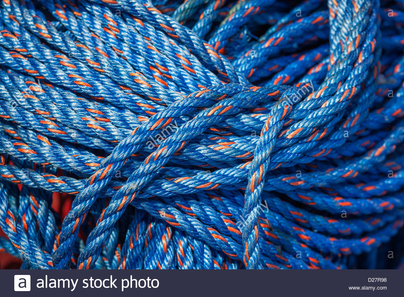 USA, Oregon, Charleston Marina, Detail of boat rope - Stock Image