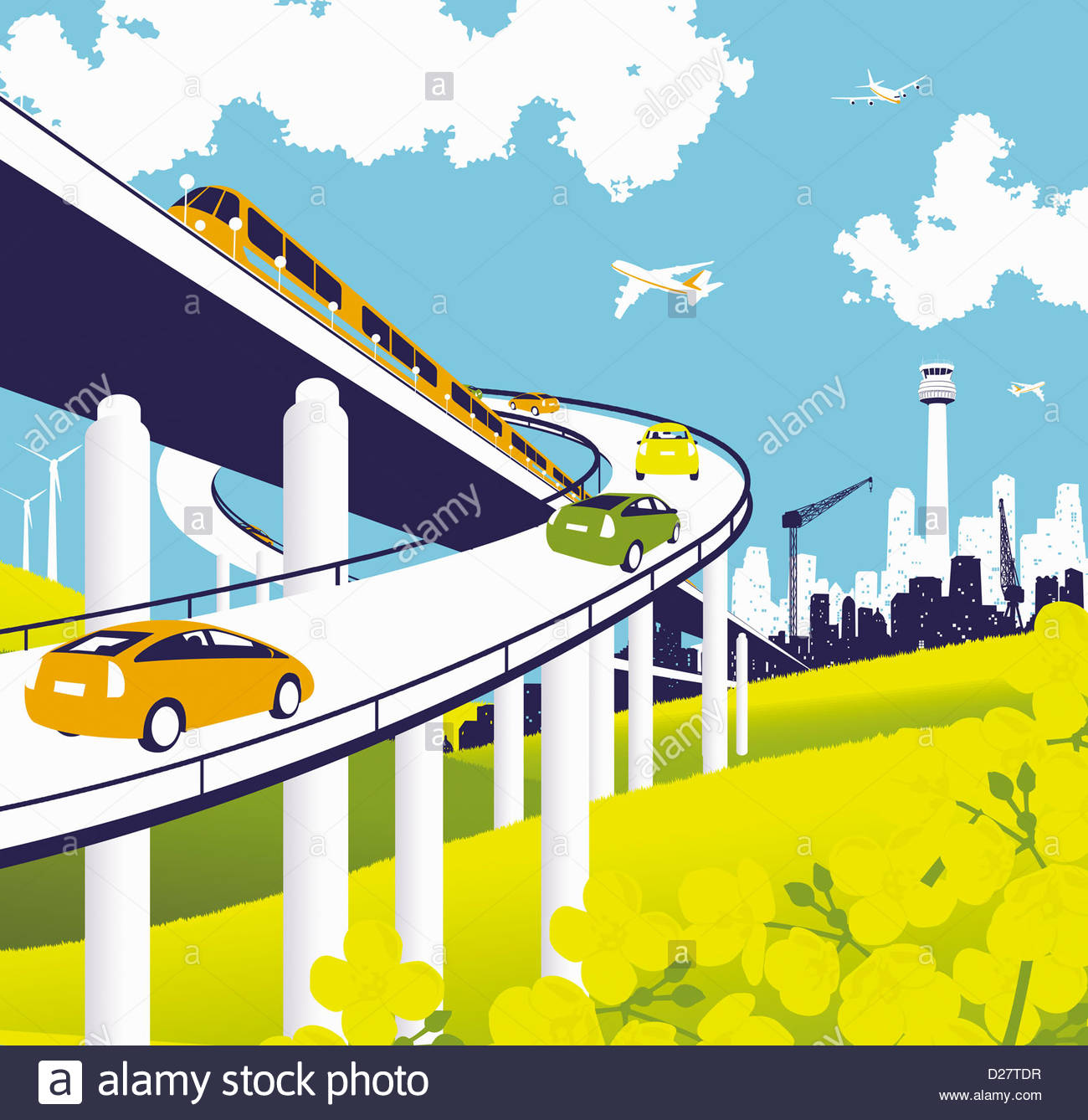 Elevated road and rail with train, cars, and airplanes - Stock Image