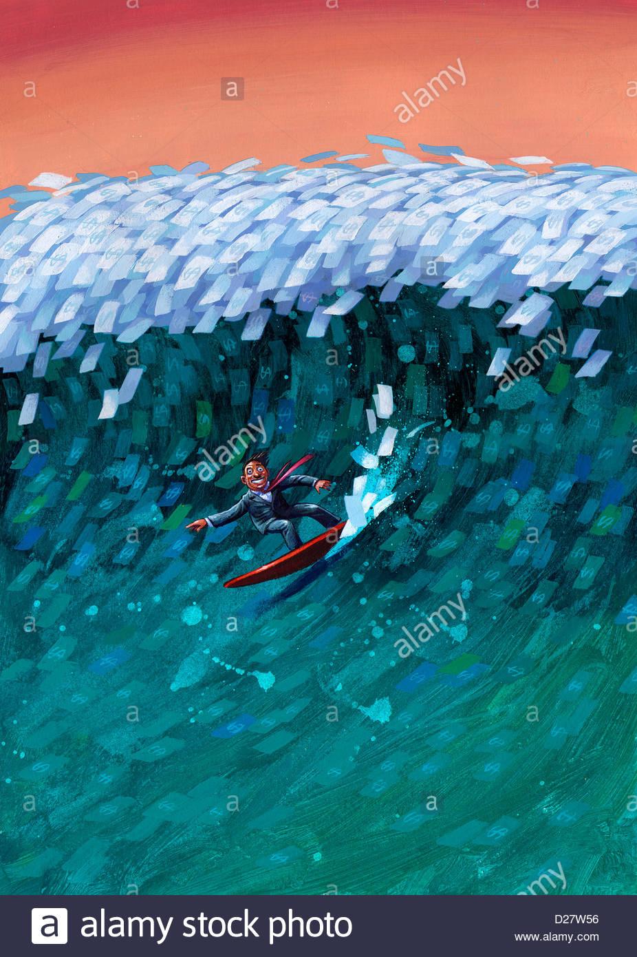 Businessman surfing on money wave - Stock Image