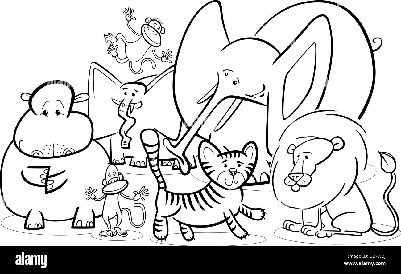 Black And White Cartoon Illustration Of Cute African Safari Wild