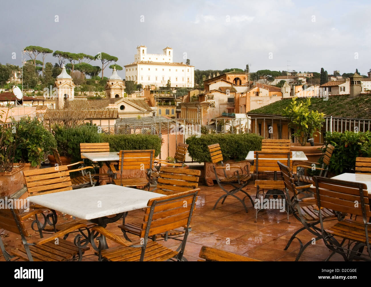 Cafe on a roof, Rome - Stock Image