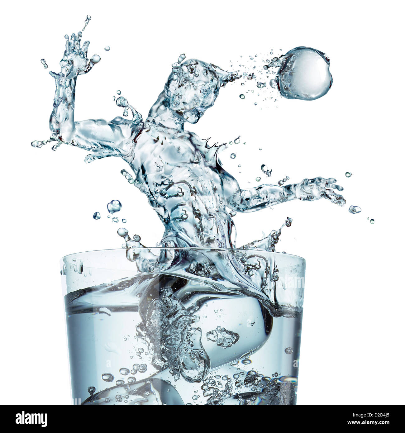 Sports hydration conceptual computer artwork Glass of water with a splash shaped as a football player heading the - Stock Image