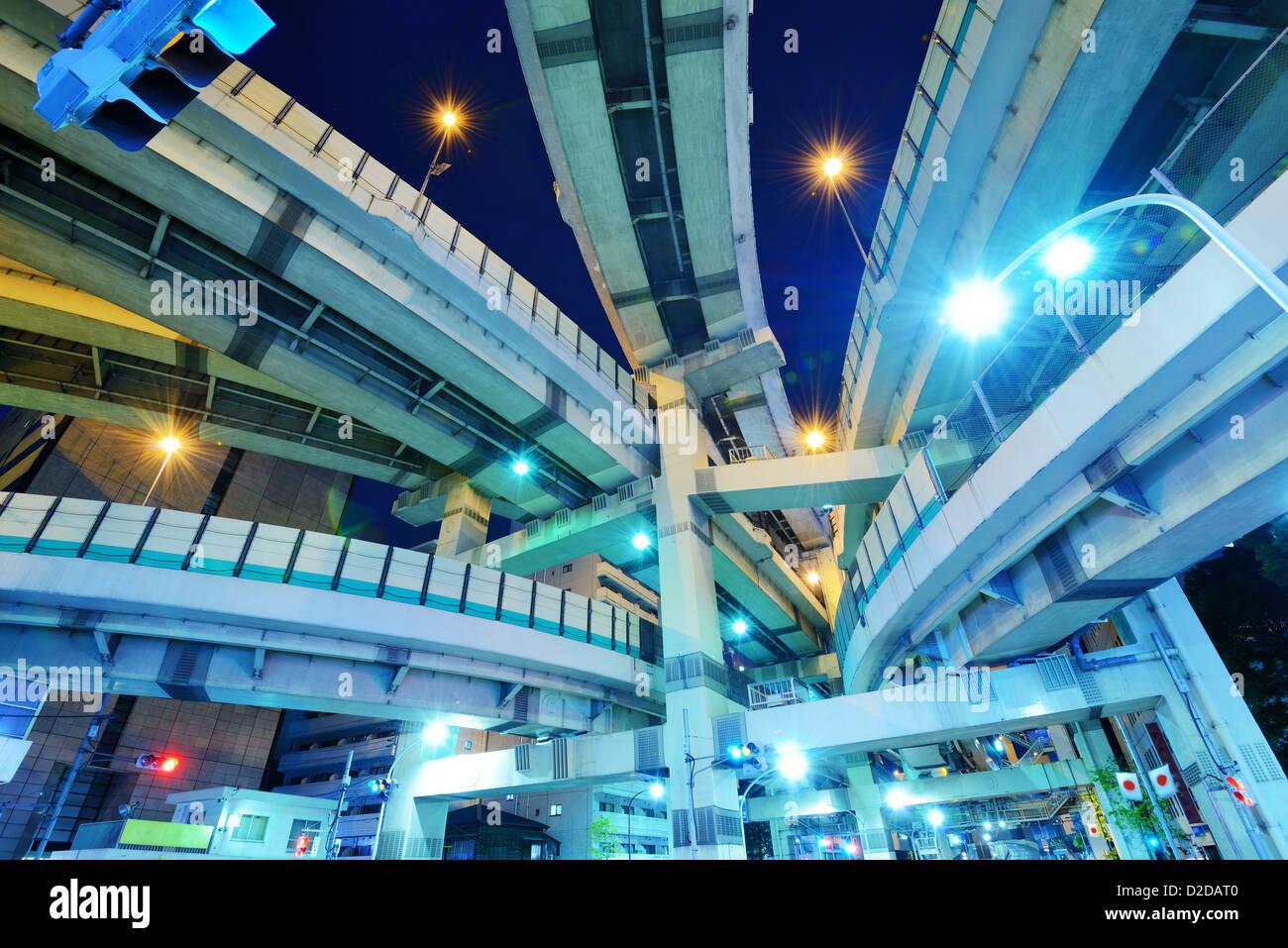 Junction of several highways in Tokyo, Japan. - Stock Image