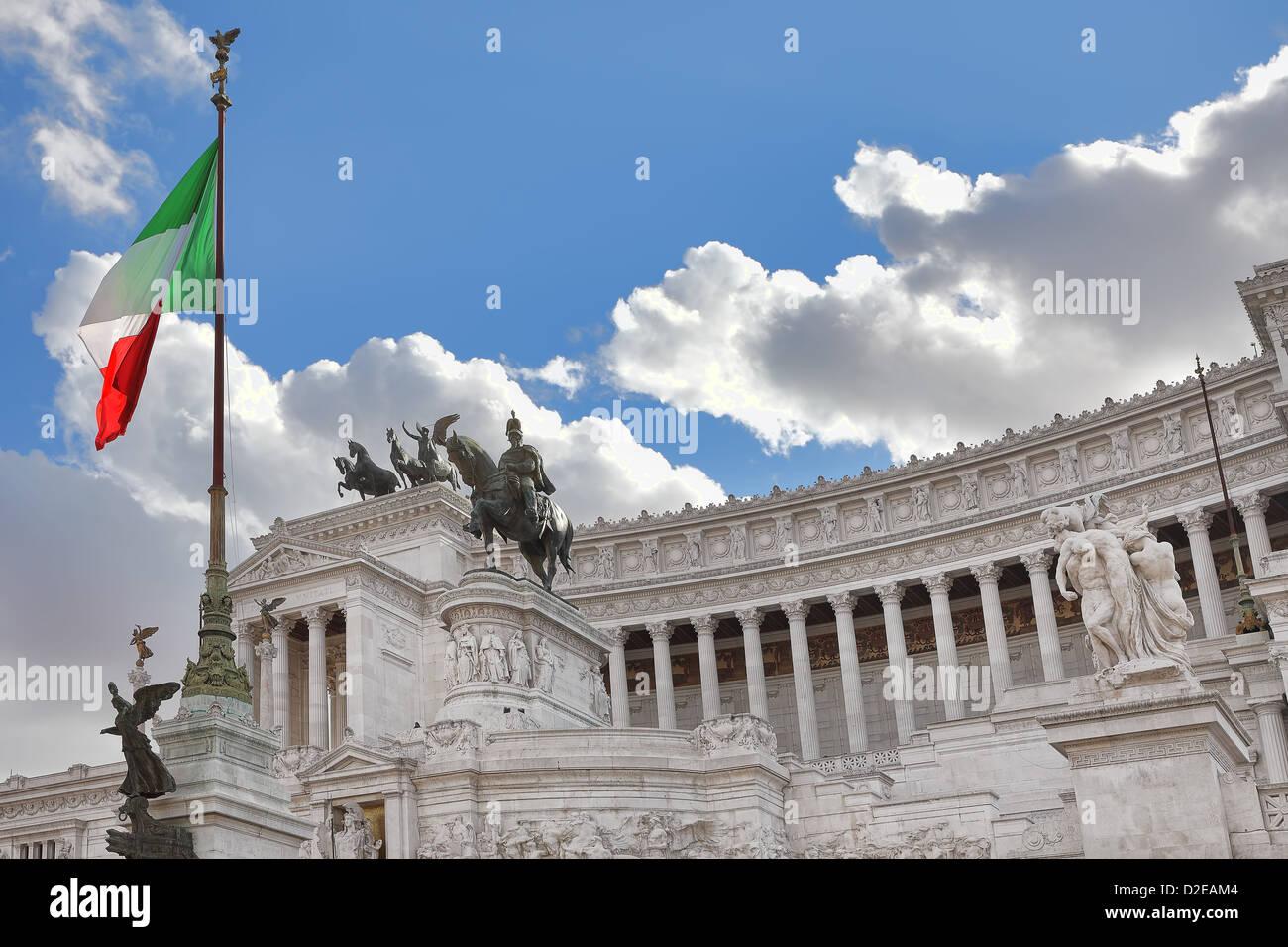 Famous Victor Emmanuel II (Vittorio Emanuele II) monument aka Altar of the Fatherland with italian national flag - Stock Image