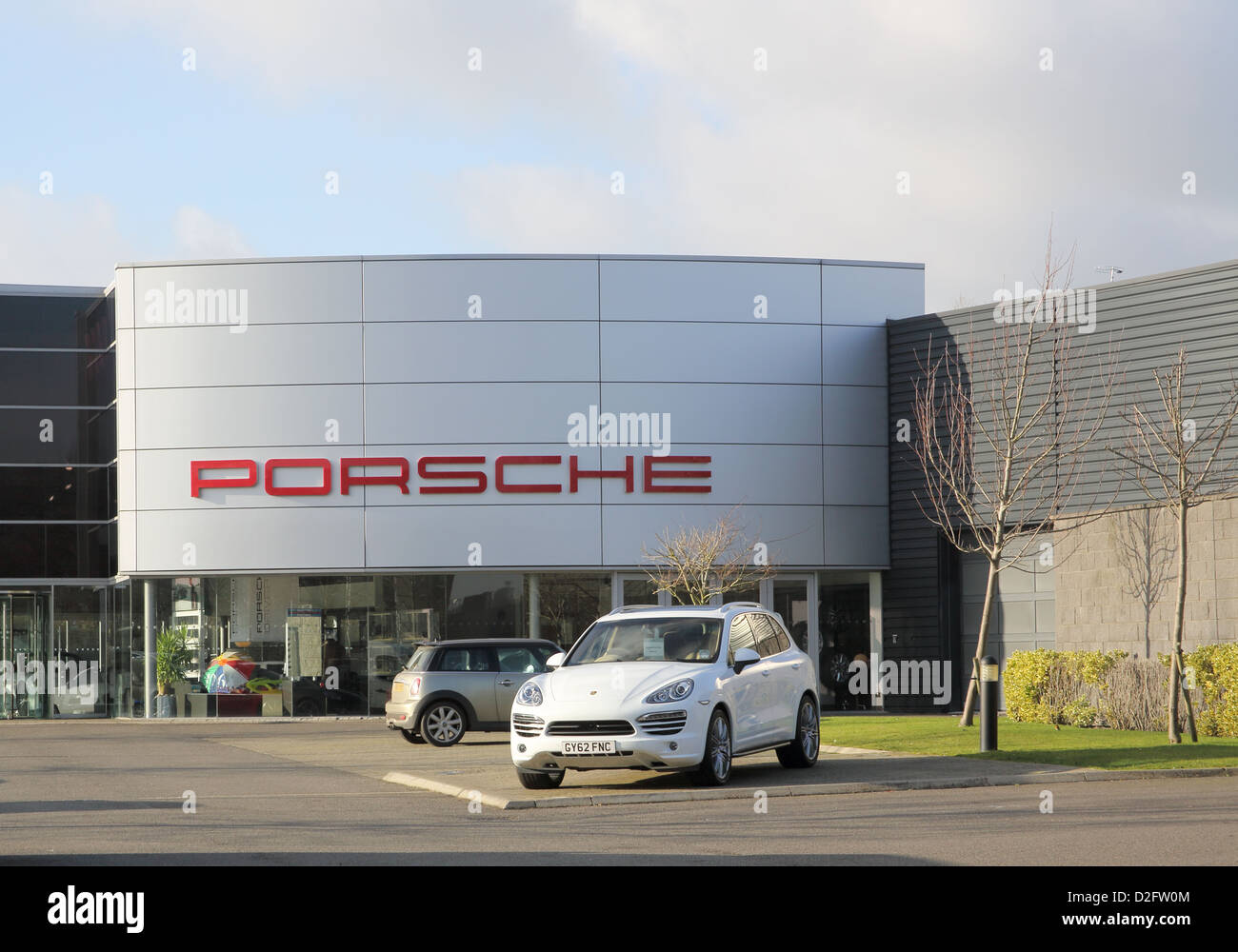 porsche showroom in the industrial and commercial area of burgess hill west sussex Stock Photo