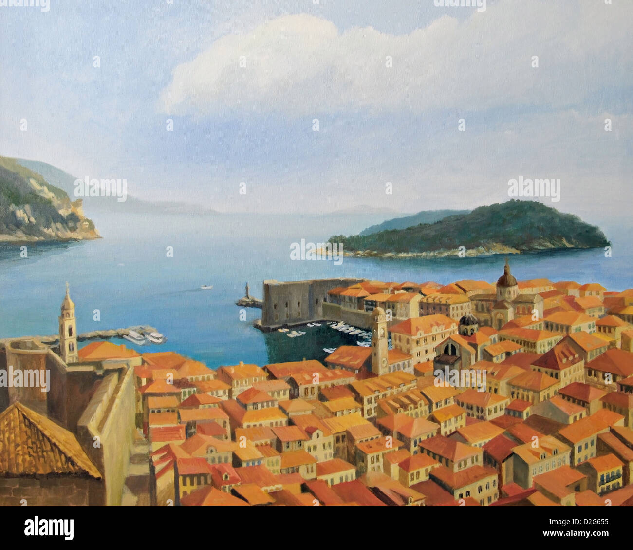 An oil painting on canvas of a beautiful panoramic view from the highest point of the city wall, toward old town - Stock Image