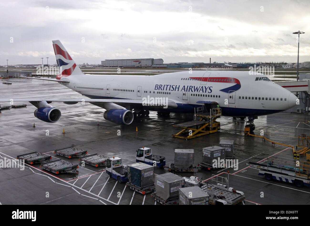 London, United Kingdom, British Airways aircraft at Heathrow Airport Terminal 5 - Stock Image
