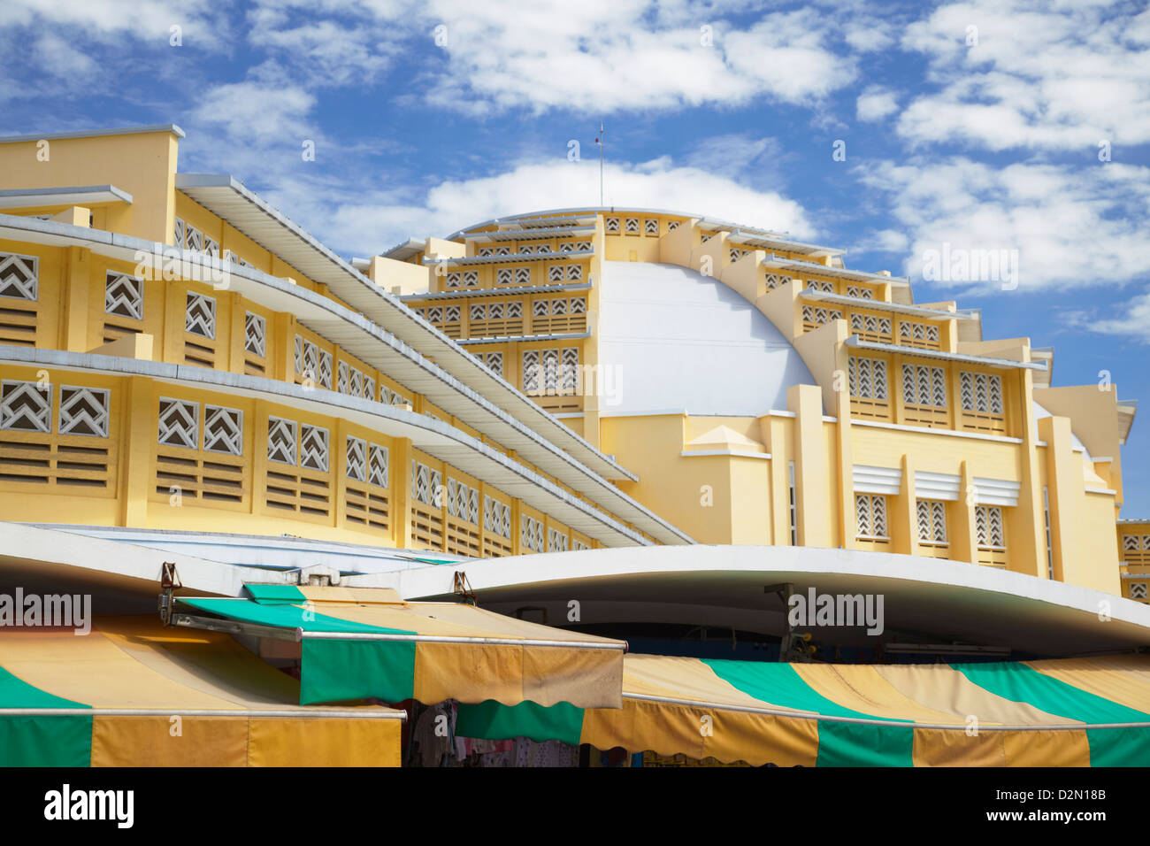 Art Deco architecture of Central Market, Phnom Penh, Cambodia, Indochina, Southeast Asia, Asia - Stock Image