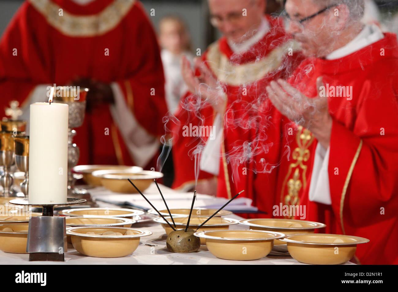 Eucharist celebration, Catholic Mass, L'Ile St. Denis, France, Europe - Stock Image