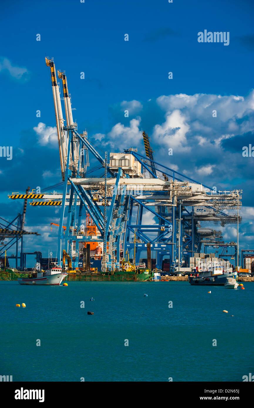 The modern cargo port of Birzebbuga, Malta, Mediterranean, Europe - Stock Image