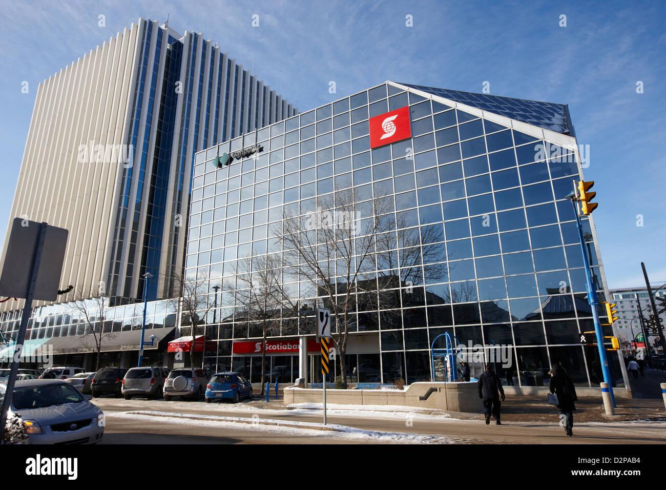 scotiabank scotia centre office towers and shopping mall Saskatoon Saskatchewan Canada - Stock Image