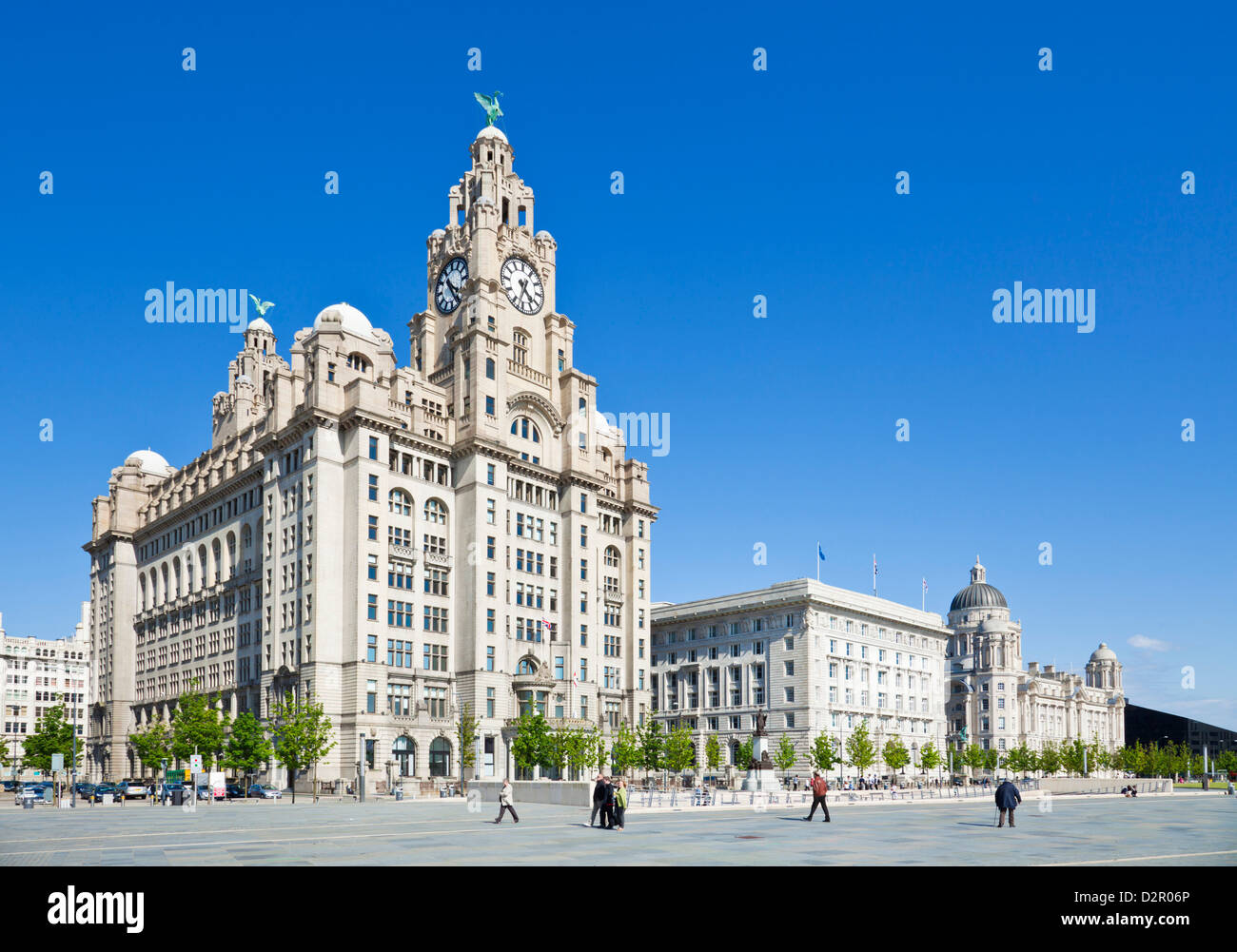 Three Graces buildings, Pierhead, Liverpool waterfront, Liverpool, Merseyside, England, UK - Stock Image
