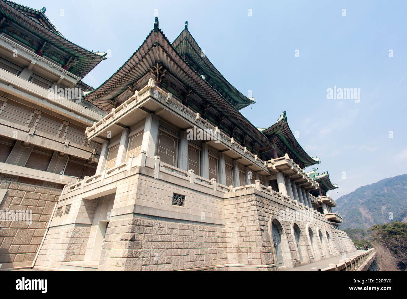 International Friendship Exhibition, complex housing the world's gifts for the Great Leaders, Mount Myohyang, - Stock Image