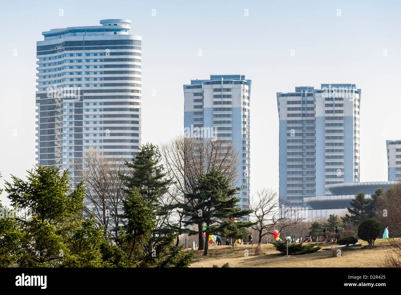 Modern apartment buildings in the city centre, Pyongyang, Democratic People's Republic of Korea (DPRK), North - Stock Image