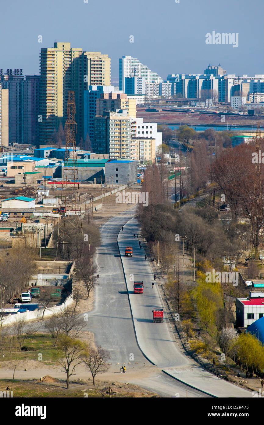 City apartment buildings, Pyongyang, Democratic People's Republic of Korea (DPRK), North Korea, Asia - Stock Image