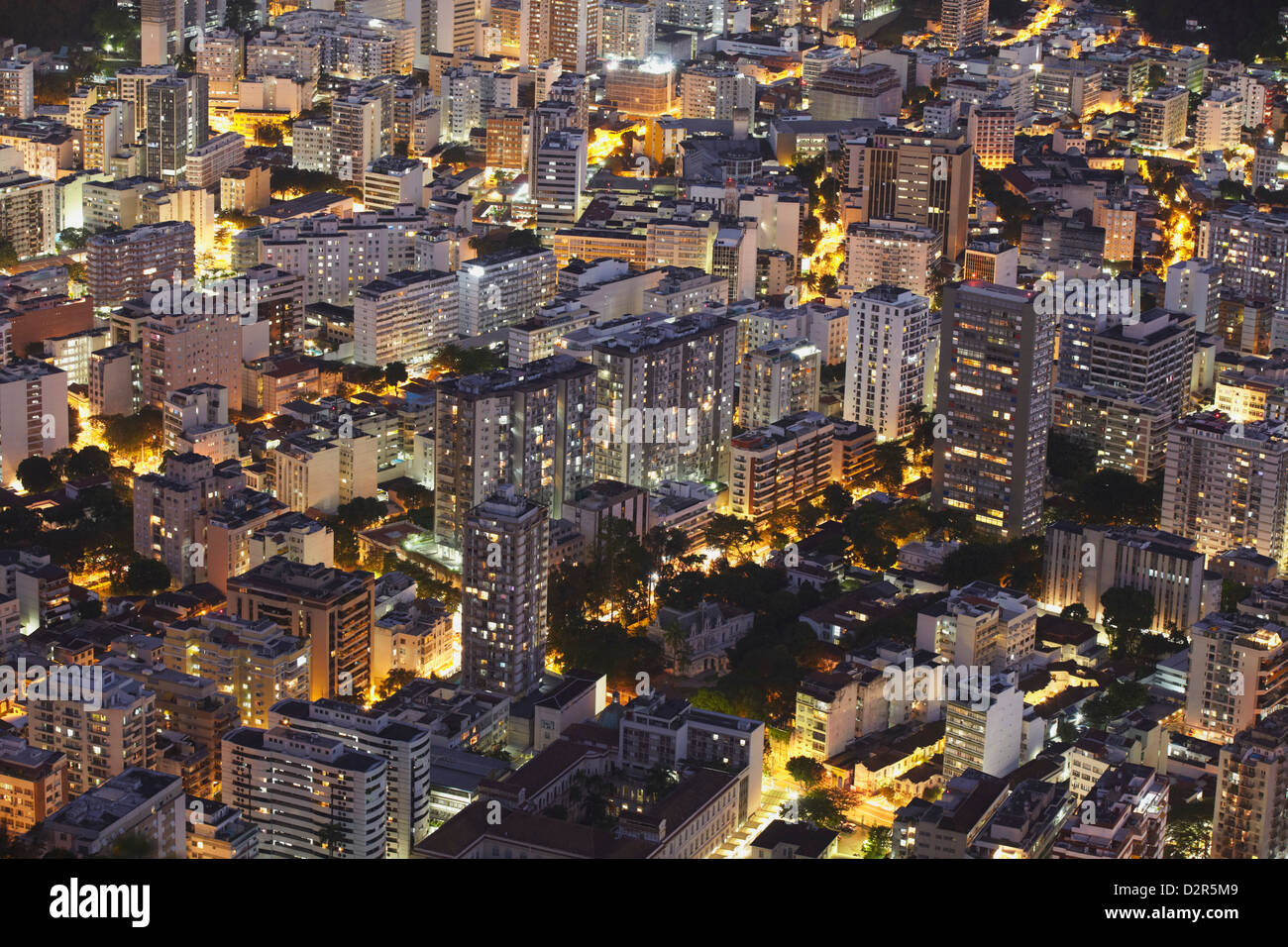 Buildings of Botafogo at night, Rio de Janeiro, Brazil, South America - Stock Image
