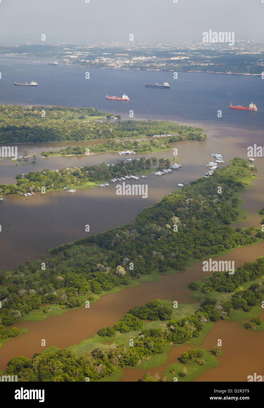 Aerial view of cargo ships on the Rio Negro, Manaus, Amazonas, Brazil, South America - Stock Image