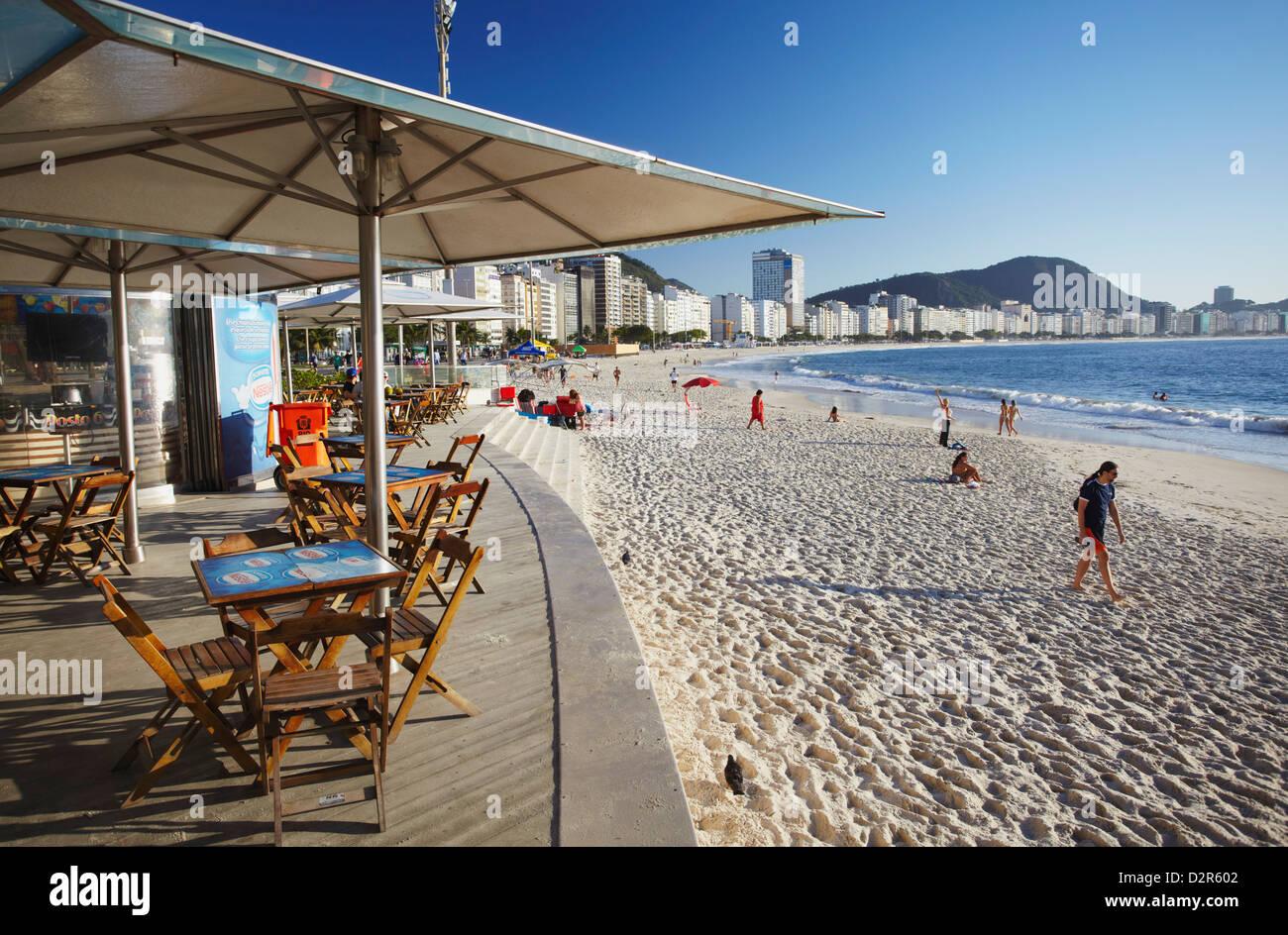 Beachside cafe, Copacabana, Rio de Janeiro, Brazil, South America - Stock Image