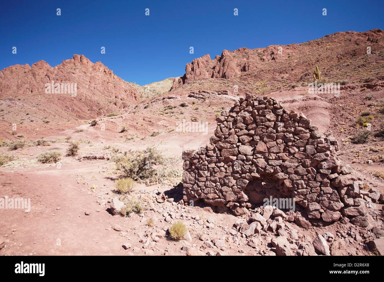 Ruins of village brick house in the Altiplano, Potosi, Bolivia, South America - Stock Image