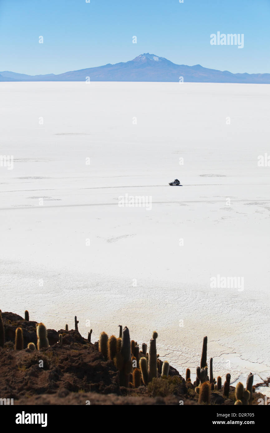 Tourist jeep on Salar de Uyuni (Salt Flats of Uyuni) from Isla del Pescado (Fish Island), Potosi Department, Bolivia - Stock Image