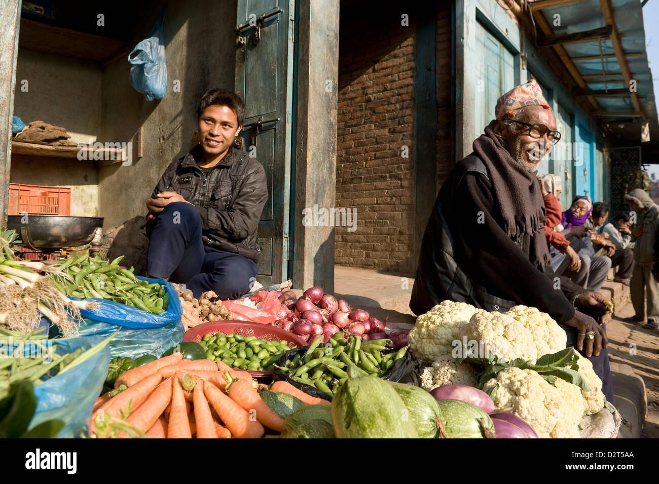 Market stall, Bhaktapur, Nepal, Asia - Stock Image