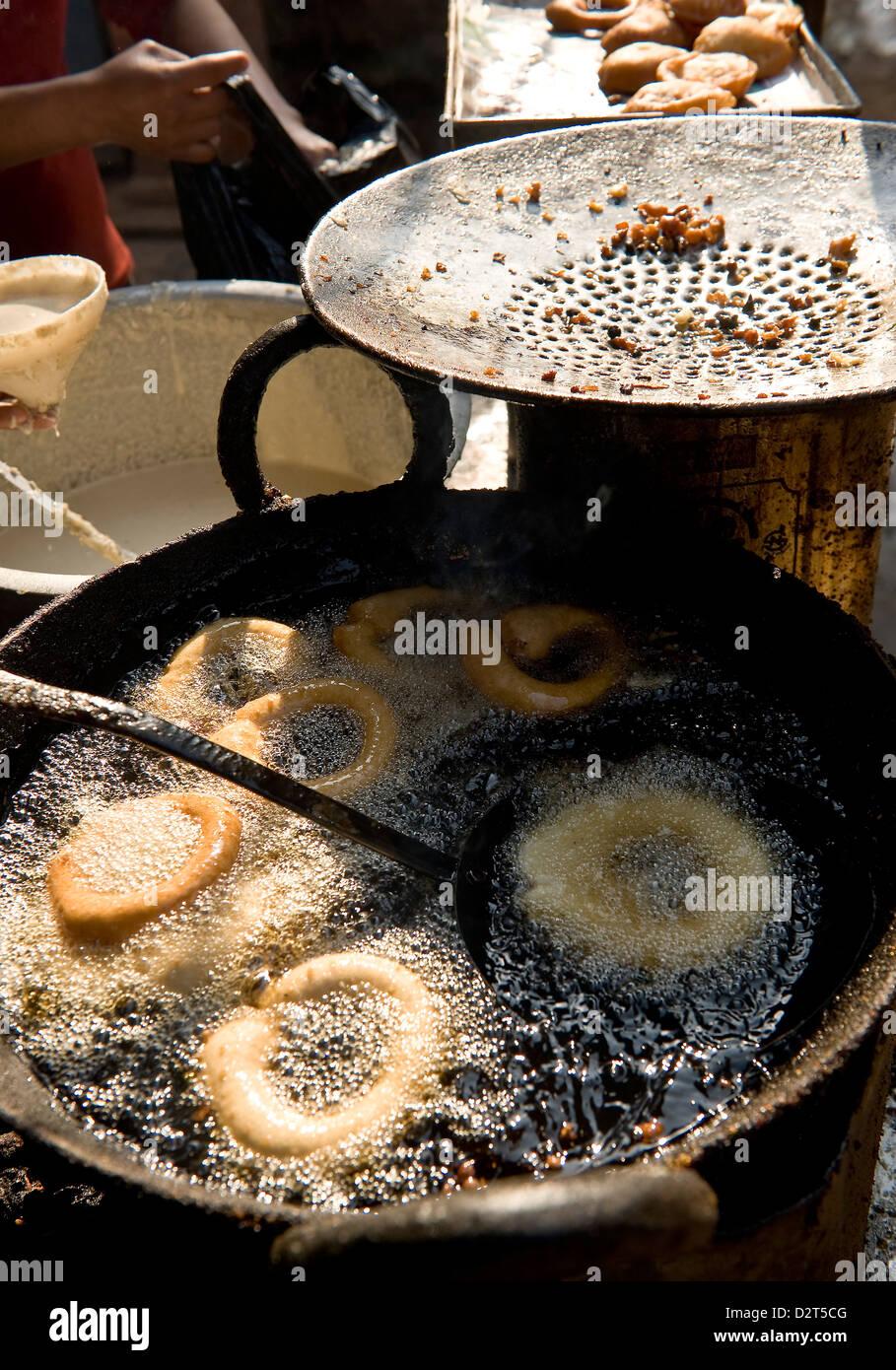Fried food stall, Bhaktapur, Nepal, Asia - Stock Image