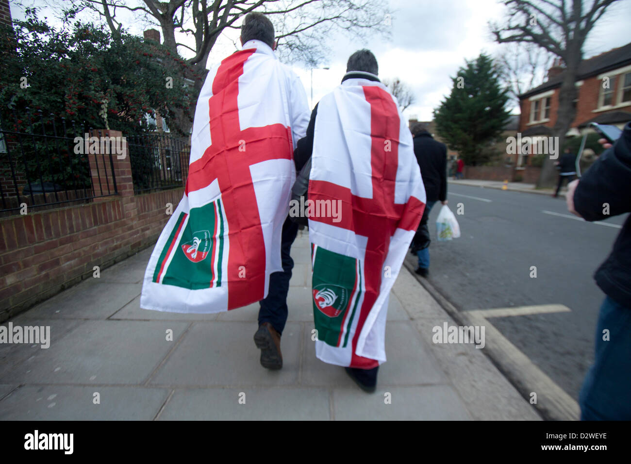 2nd February 2013. Twickenham Surrey, UK. Fans gather ahead of the RBS rugby six nations match between England and - Stock Image