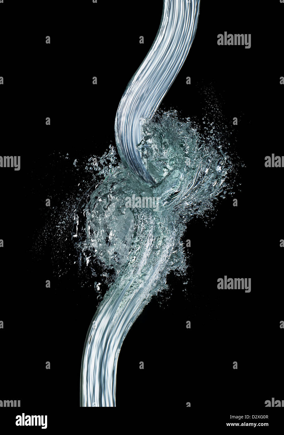 Wave pattern forming from water - Stock Image