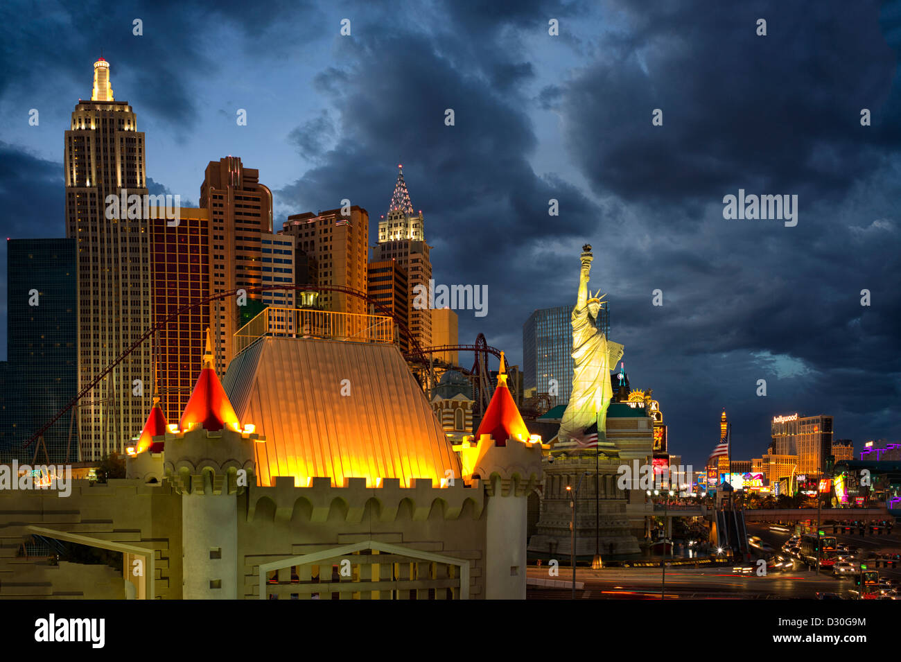 Las Vegas skyline.at night. Nevada - Stock Image