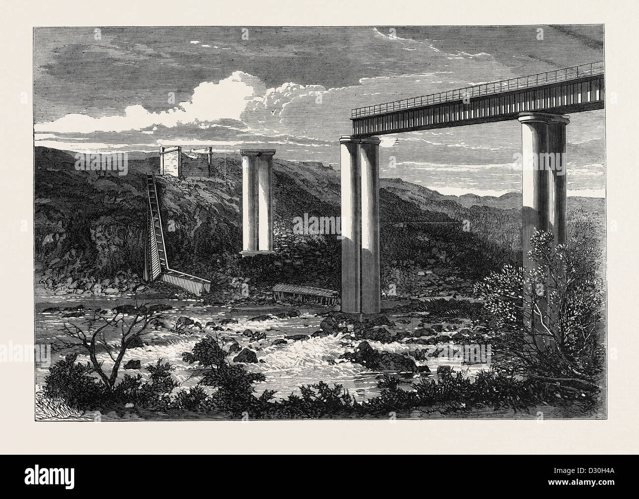 GRAND RIVER RAILWAY BRIDGE MAURITIUS DESTROYED BY A HURRICANE 1868 - Stock Image