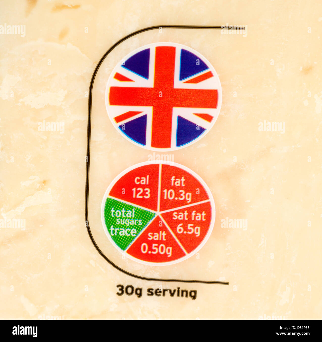 Close up of the British origin and 'traffic light' food labels on a pack of Sainsbury's cheddar cheese, - Stock Image