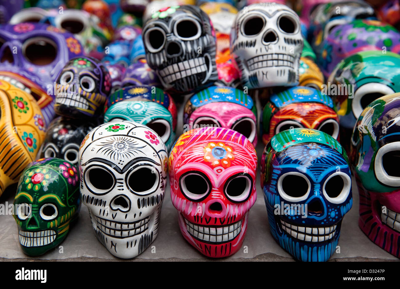 Mexican ceramic stock photos mexican ceramic stock images alamy rows of handpainted ceramic skulls for sale during day of the dead celebration at market on dailygadgetfo Choice Image