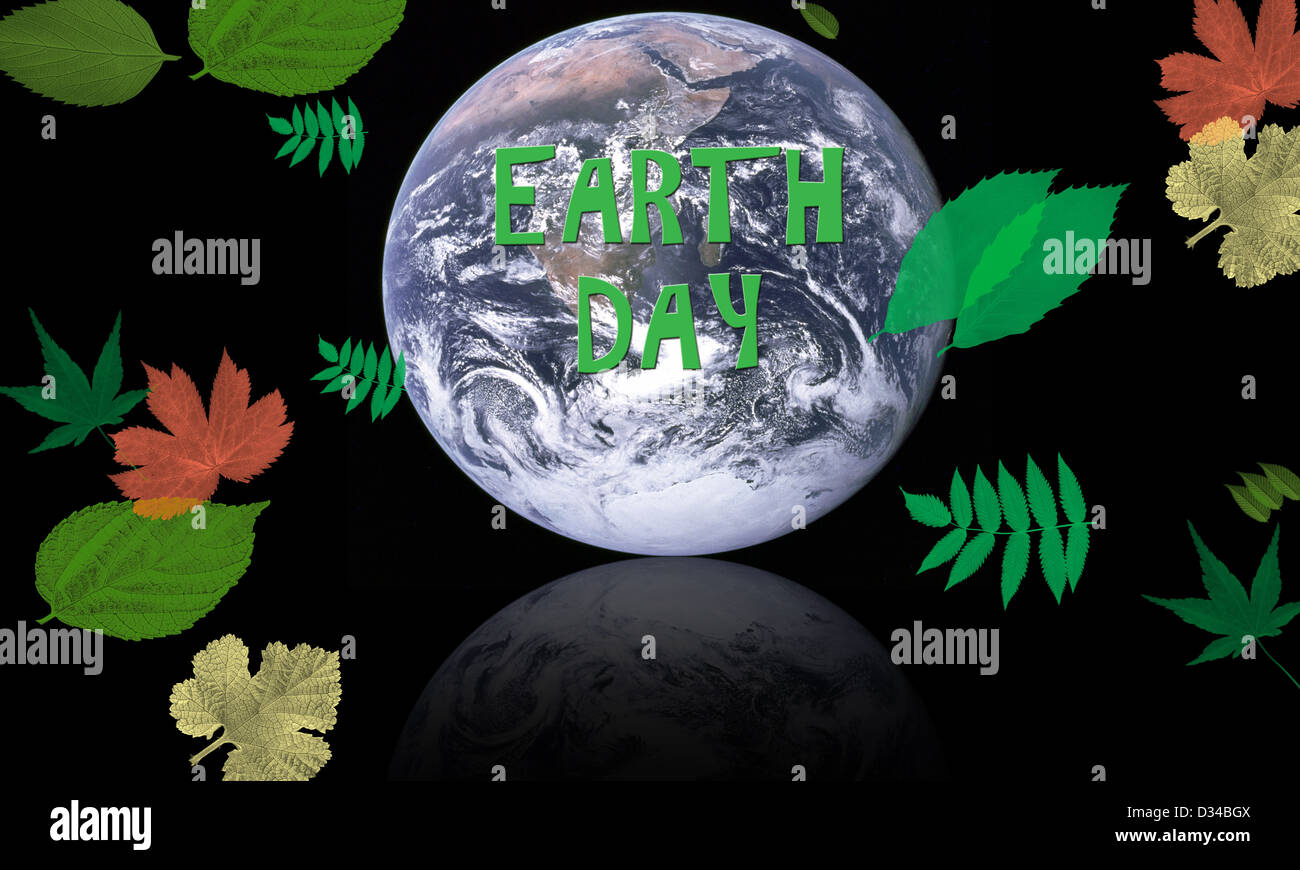 earth day concept with planet surrounded by leaves for conservation - Elements of this image supplied by NASA - Stock Image