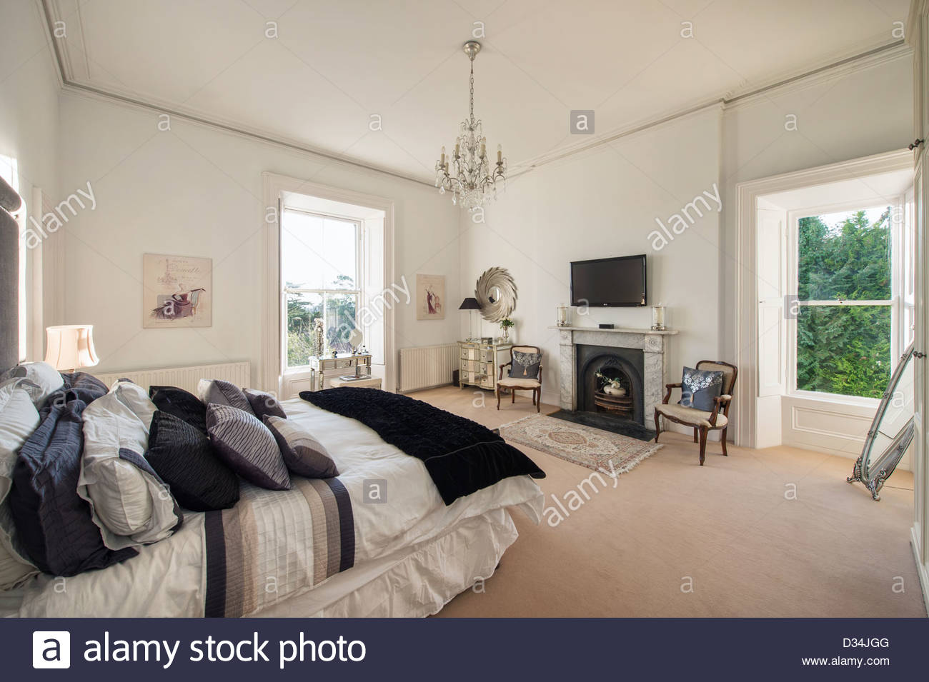 Interior space of luxury period home Stock Photo, Royalty ...