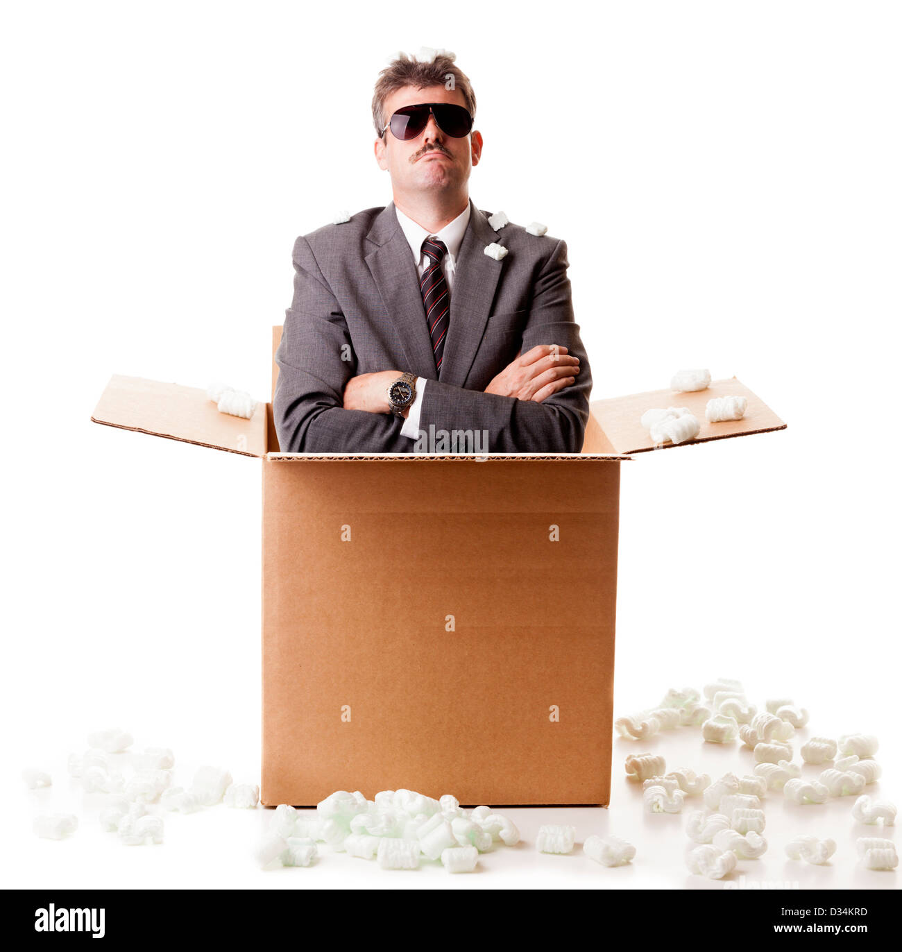 Businessman in the box - Stock Image