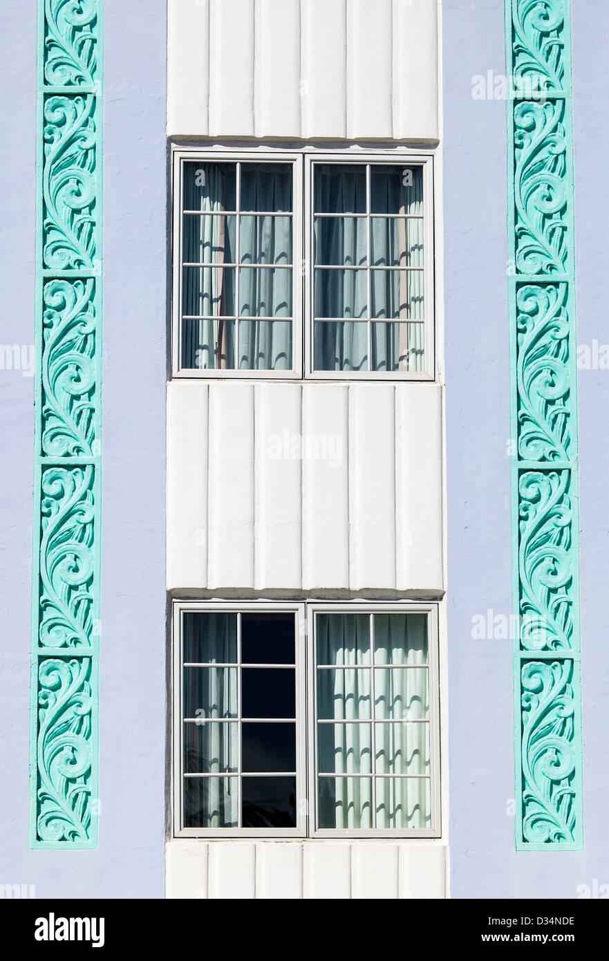 Detail of two Windows, Art Deco District, South Beach, Miami Beach, USA - Stock Image