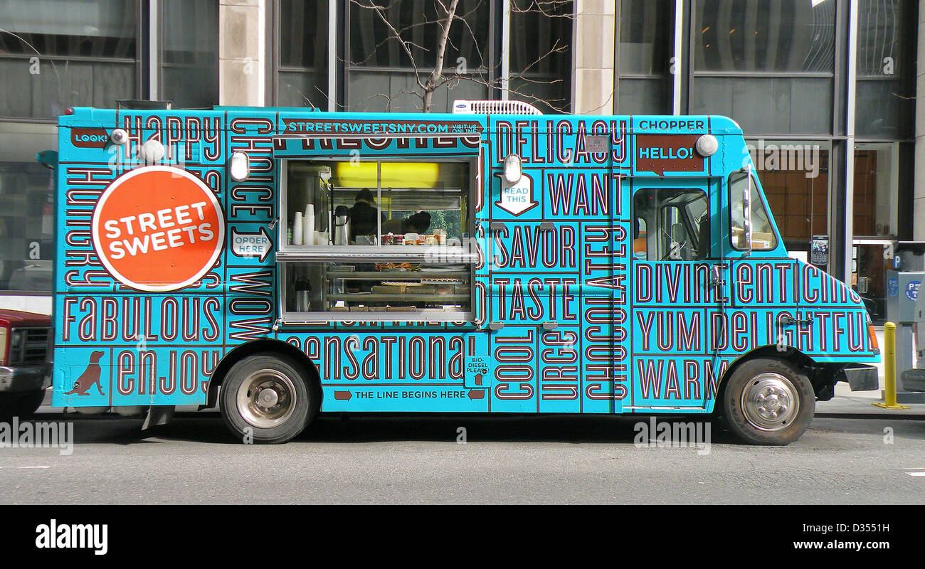 Street Sweets Food truck on West 50th between 7th Ave & Ave of the Americas (6th Ave) Midtown Manhattan New - Stock Image