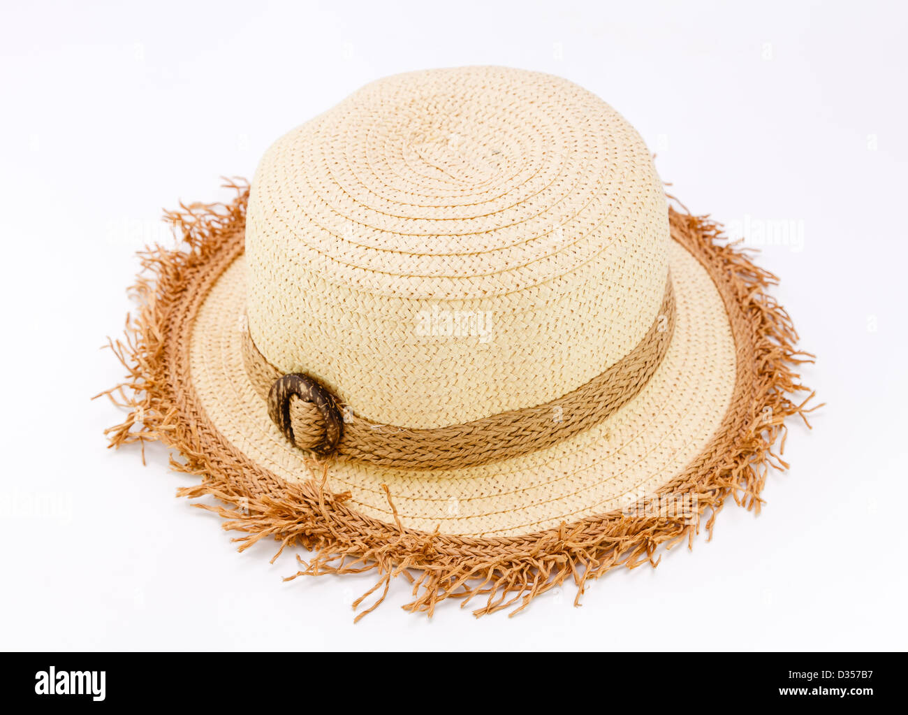 Female woven fashion hat isolate on white background - Stock Image