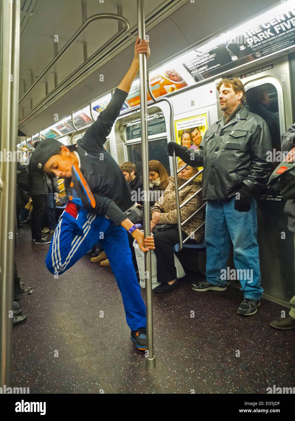 subway passengers in New York City - Stock Image