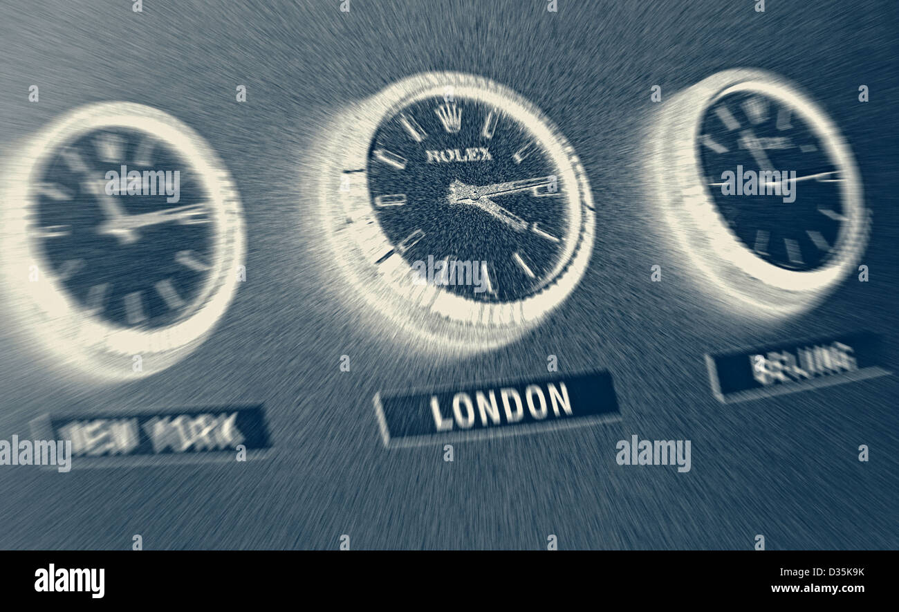 Charmant Three Rolex Office Wall Clocks Showing Time Zones L R New York, London,  Beijing.