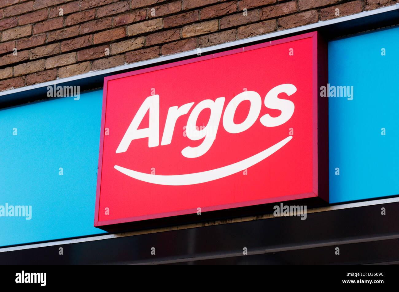 Sign on Argos shop. Stock Photo