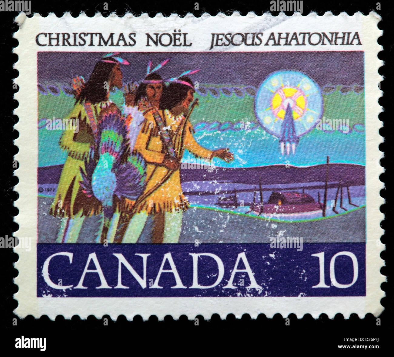 Christmas, postage stamp, Canada, 1977 - Stock Image