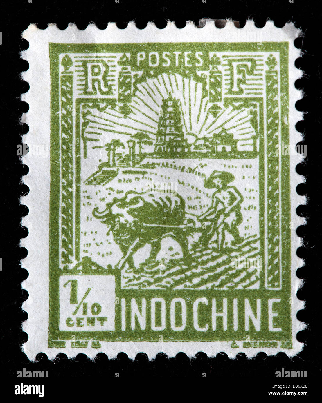 Plowing, Tower of Confucius, Indochina, postage stamp, 1927 - Stock Image
