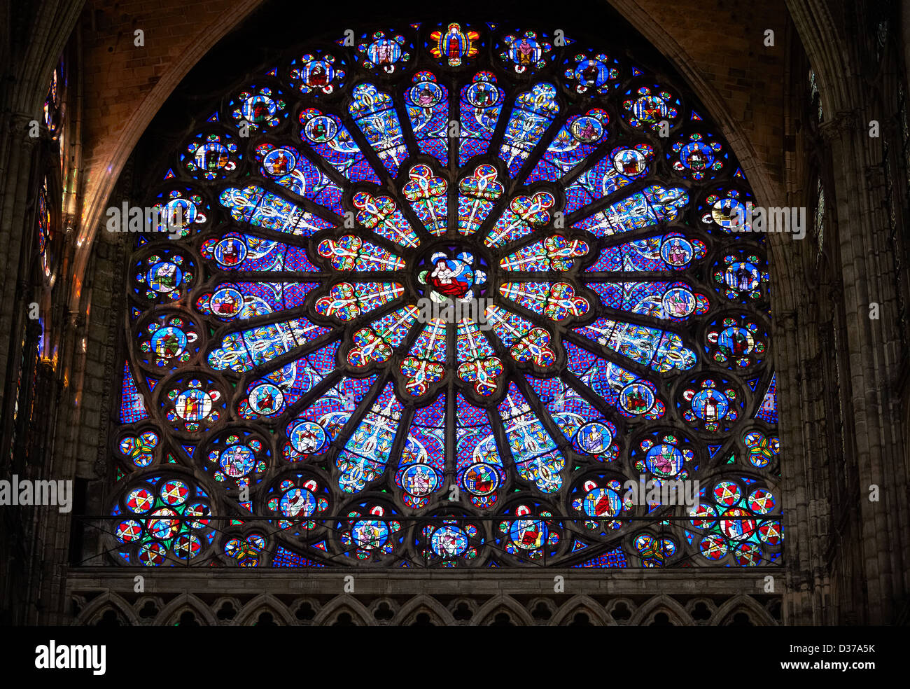 Medieval Rayonnant Gothic Stained Glass Rose Window Cathedral Basilica Of Saint Denis Basilique Paris France