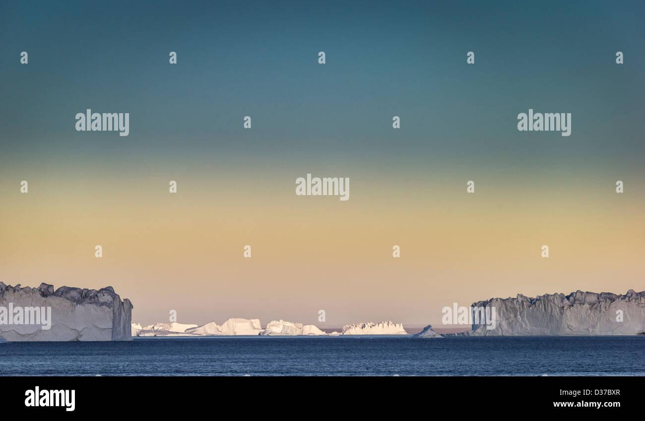 Icebergs, Scoresbysund, Greenland - Stock Image