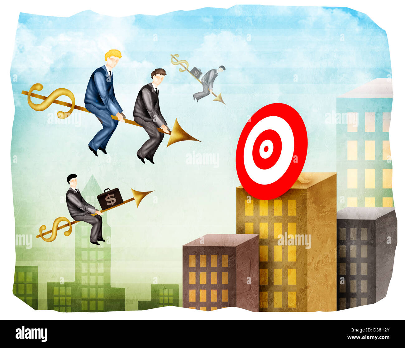 Sales executives reaching towards a target on arrows - Stock Image