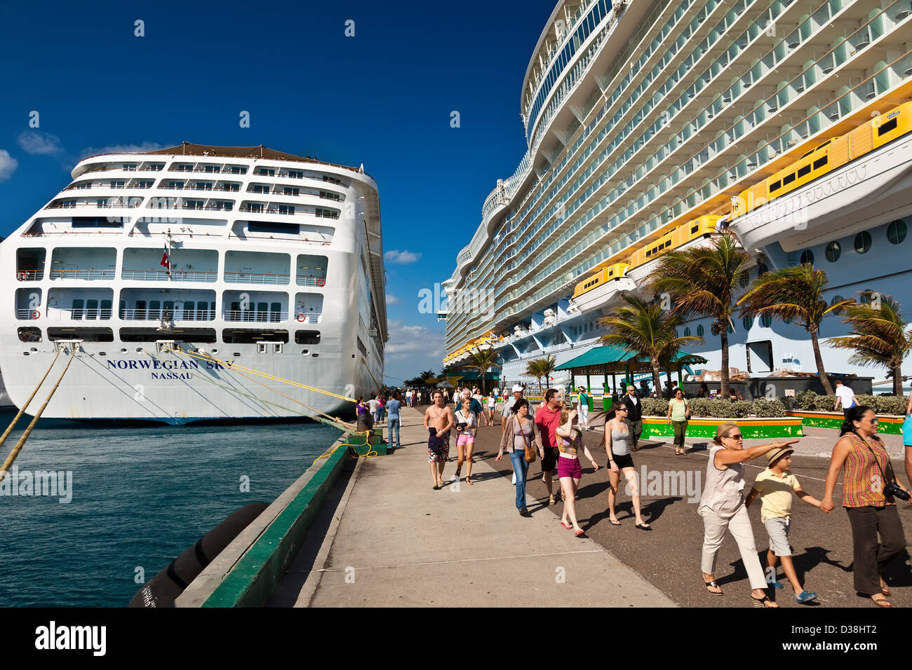Tourists in Nassau, Bahamas Stock Photo