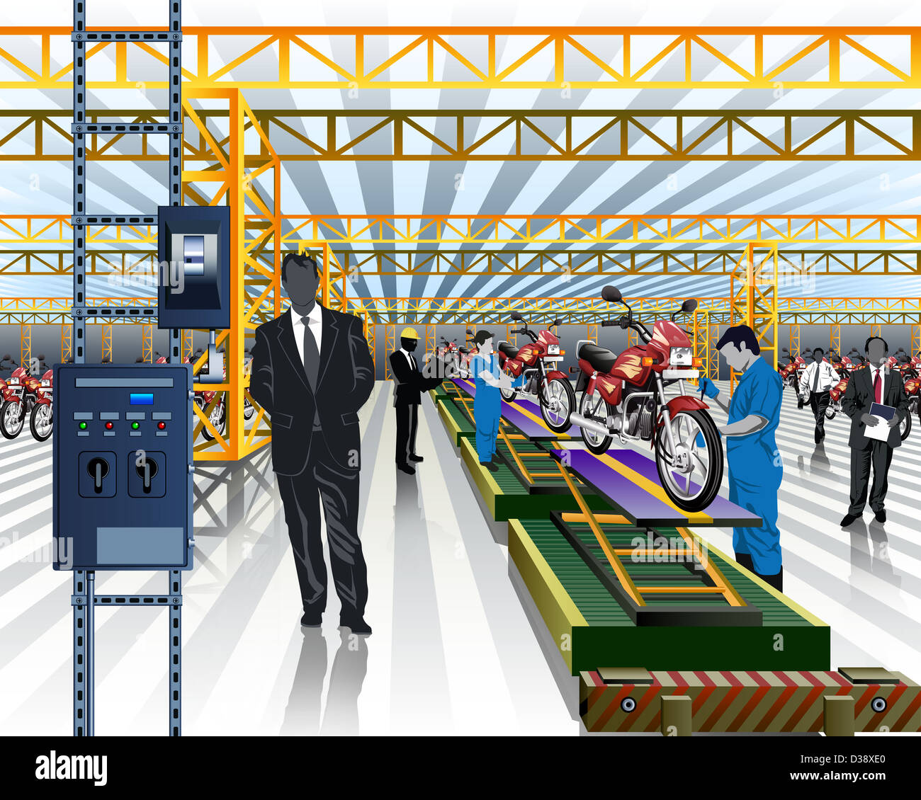 Worker testing motorcycles on production line in a factory - Stock Image