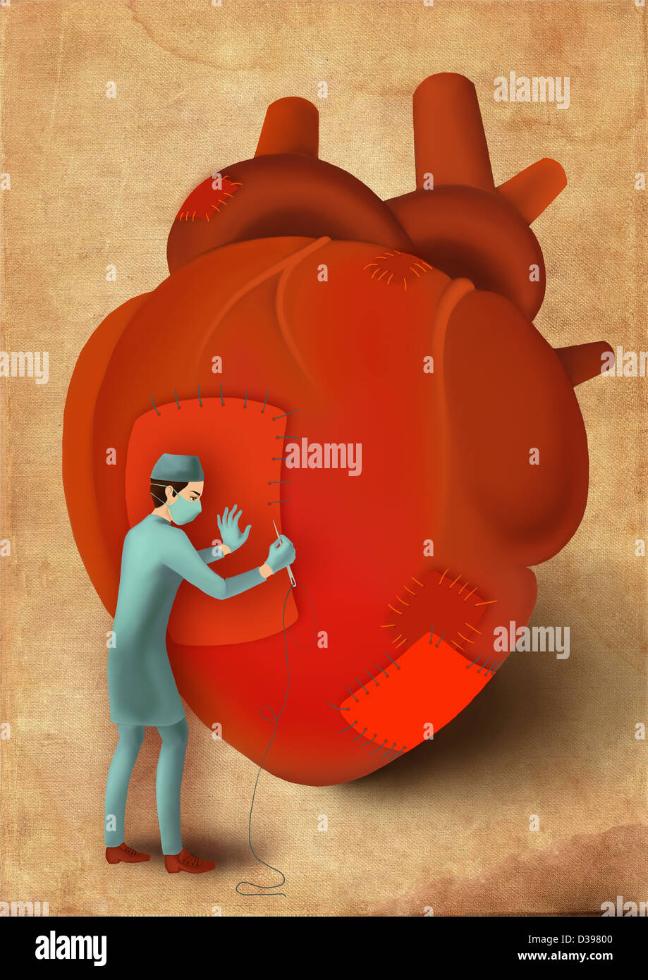 Male surgeon stitching heart with needle and thread depicting surgical treatment - Stock Image